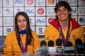 Mariana Pajón and Carlos Mario Oquendo Zabala from Colombia during the press meeting on 10th August in London after taking gold and bronze medals in BMX during the Olympics 2012 in London