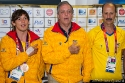 Carlos Mario Oquendo Zabala, Andrés Botero and Jorge González singing the Colombian Anthem during the press conference on 10th August in London. Carlos Mario Oquendo won bronze medals in BMX during the Olympics 2012