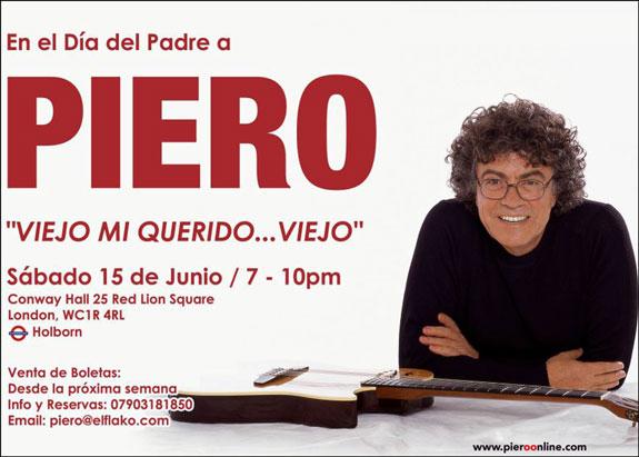 Piero ofrecerá concierto este sábado 15 de Junio