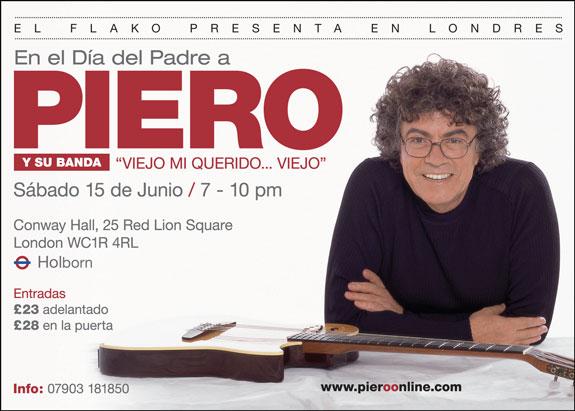 Este Sábado 15 de Junio: Piero en Londres