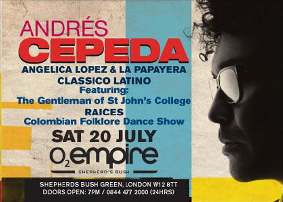 Con Andrés Cepeda fiesta colombiana en Londres