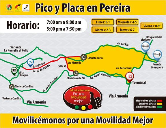 Instituto de Tránsito anunció nuevo Pico y Placa para Pereira