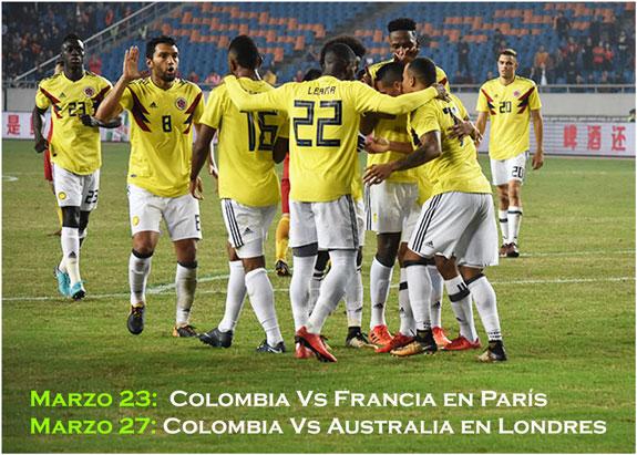 Colombianos en París y Londres listos para amistosos ante Francia y Australia