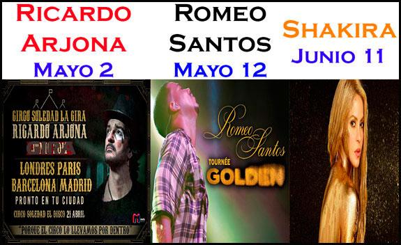 Los cantantes Ricardo Arjona, Romeo Santos y Shakira, ofrecerán grandes conciertos en Londres
